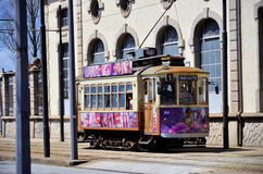 Typical tram car. Passing in the historic city of Porto royalty free stock photos