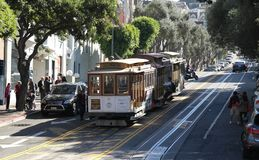 A typical tram in San Francisco. A picture of a typical tram in San Francisco USA taken during a sunny day on a daytrip royalty free stock photo