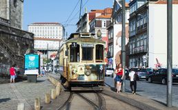 Typical tramcar in the old town of Porto, Portugal Stock Photo