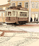 Typical tramway  in Porto - Portugal. Vector illustration of a typical tramway  in Porto - Portugal Royalty Free Stock Photography