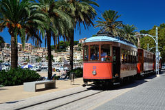 Typical tramway of Puerto de Soller Stock Photos