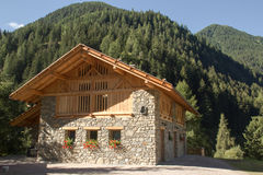 Typical trentino house in summer Royalty Free Stock Photos