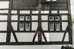 Typical truss house architecture from the middle ages in the idyllic Swiss village of Stein Am Rhein Stock Photo