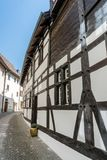 Typical truss house architecture from the middle ages in the idyllic Swiss village of Stein Am Rhein. In northeastern Switzerland stock photo