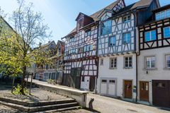 Typical truss house architecture from the middle ages in the idyllic Swiss village of Stein Am Rhein Royalty Free Stock Photos