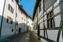 Typical truss house architecture from the middle ages in the idyllic Swiss village of Stein Am Rhein Royalty Free Stock Image