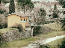 Typical Tuscan house near the river. Stock Photo