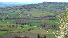 Typical Tuscan landscape. With the beautiful green hills stock video