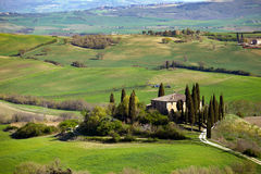 Typical Tuscan landscape. A view of a villa on a hill and green fields at sunny day. province of Siena. Tuscany, Italy Royalty Free Stock Photography