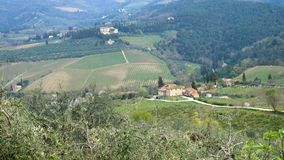 Typical Tuscanian landscape with the beautiful green hills stock video footage