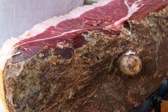 Typical tuscany ham. Siena italy hand cutting typical tuscany ham stock photos