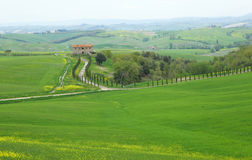Typical Tuscany landscape with a farmhouse Stock Photo