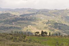 Typical Tuscany landscape with hills and green trees, Italy. The view of typical Tuscany landscape with hills and green trees in Italy stock photos
