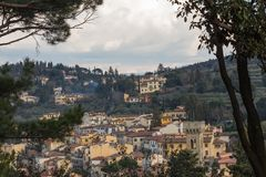 Typical Tuscany landscape with typical houses on a hill, Italy royalty free stock photography
