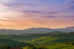Typical Tuscany landscape springtime at sunrise. In Italy,Europe Royalty Free Stock Photos