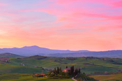 Typical Tuscany landscape springtime at sunset. In Italy,Europe Stock Photos