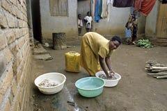 Typical Ugandan domestic landscape, village life Stock Image