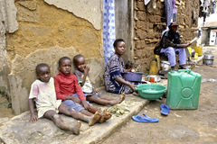 Typical Ugandan homely atmosphere in a slum Royalty Free Stock Image