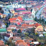 Typical urban landscape in the city Rupea-Reps. It was Dacian settlement Rumidava and later, during the Roman occupation. It was Dacian settlement Rumidava and Royalty Free Stock Image