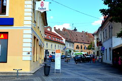 Typical urban landscape in the city Sibiu, Transylvania Royalty Free Stock Photo