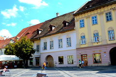 Typical urban landscape in the city Sibiu, Transylvania. Sibiu is one of the most important cultural centres of Romania and was designated the European Capital Royalty Free Stock Photo