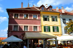 Typical urban landscape in the city Sibiu, Transylvania. Sibiu is one of the most important cultural centres of Romania and was designated the European Capital Royalty Free Stock Photos