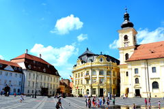 Typical urban landscape in the city Sibiu, Transylvania. Sibiu is one of the most important cultural centres of Romania and was designated the European Capital Stock Image
