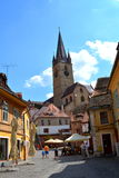Typical urban landscape in the city Sibiu, Transylvania. Sibiu is one of the most important cultural centres of Romania and was designated the European Capital Stock Photos