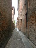 Typical urban landscape in Ferrara, Italy, in a rainy day Stock Photos