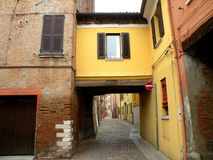 Typical urban landscape in Ferrara, Italy, in a rainy day Stock Photography