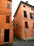 Typical urban landscape in Ferrara, Italy, in a rainy day Stock Image