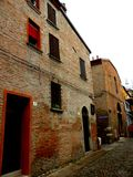 Typical urban landscape in Ferrara, Italy, in a rainy day Royalty Free Stock Photography