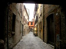 Typical urban landscape in Ferrara, Italy, in a rainy day Royalty Free Stock Image