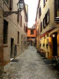 Typical urban landscape in Ferrara, Italy, in a rainy day Stock Images