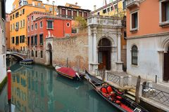 Typical urban landscape of old Venice. Picturesque view of lateral narrow Canal, Venice, Italy stock images
