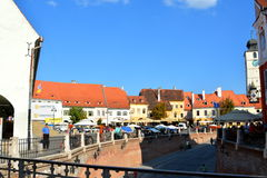 Typical urban landscape in Sibiu, European Capital of Culture for the year 2007 Stock Photos