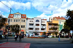 Typical urban landscape in the town Targu-Mures, Romania. Targu Mures is a nice romanian town in the center of Transylvania Royalty Free Stock Images