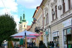 Typical urban landscape in the town Targu-Mures, Romania. Targu Mures is a nice romanian town in the center of Transylvania Royalty Free Stock Photo