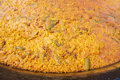 Typical valencian paella in traditional pan Stock Photos