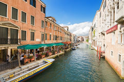 Typical Venetian canal on a sunny day Royalty Free Stock Images