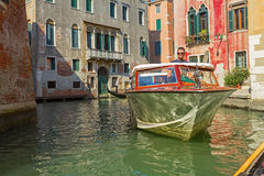 Typical venetian motorboat Royalty Free Stock Images