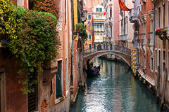 Typical Venice canal with gondola Stock Image