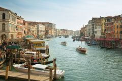 Typical view of the Canal Grande Canale in Venice, Italy Stock Photos