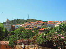 Typical view of Cargese, Corsica island. Royalty Free Stock Photo