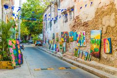 A typical view in Cartagena in Colombia. stock photography