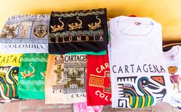 A typical view of Cartagena Colombia. Cartagena, Colombia. march 2018. A typical view of souvenirs for sale at Plaza de las Bovedas in Cartagena Colombia stock images