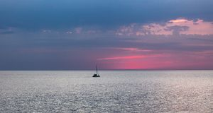 Typical view of the Caspian Sea, Kazakhstan, Aktau. The Pink Sunset. Typical view of the Caspian Sea, Kazakhstan, Aktau. The Pink Sunset royalty free stock photography