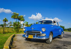 Typical view of classic blue American car on Cuba,Havana. Typical view of classic blue American car on Cuba where old vehicles become iconic part of Cuba Royalty Free Stock Photos