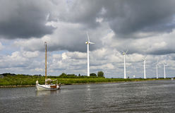 The typical view of Dutch canal Royalty Free Stock Photography