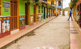 A typical view in Guatape in Colombia. Guatape, Colombia. April 2018. A view of typically colourful buildings in Guatape Colombia stock image